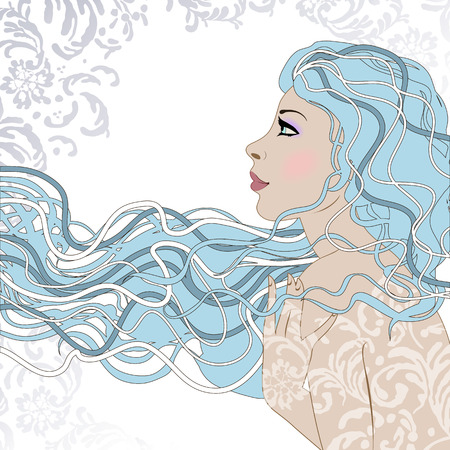 hoarfrost: Portrait of pretty young woman in profile view with long beautiful hair. Lady winter. Vector illustration. Illustration