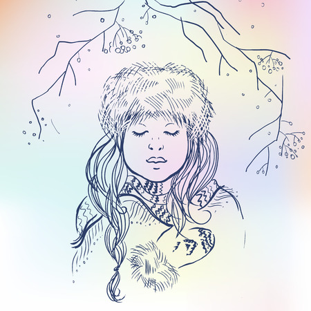 Vector illustrations of beautiful Russian girl on blurred colorful background. Russian winter.