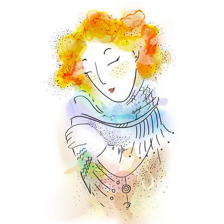 Beautiful tender girl. Watercolor illustration in vector Ilustração