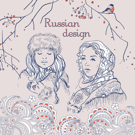 russian girls: Russian  traditional syle set, hand drawn simple sketches of russian girls and nature.  Vector isolated illustration. National culture concept.