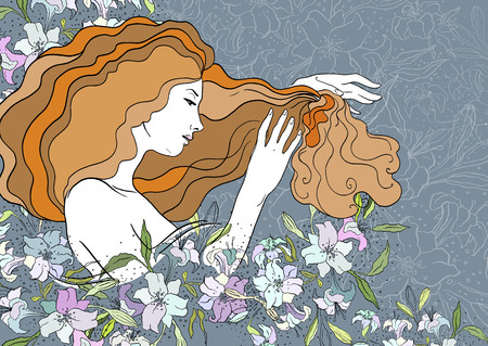 Vector illustration of dreaming beautiful girl with lilies. Stained-glass window style.