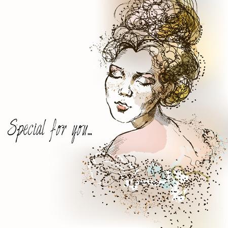 Beautiful vintage girl. Watercolor illustration in vector. Vintage Postcard. Ilustração