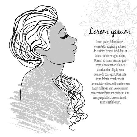 grange: Beautiful girl face. Perfect design element. Vector Illustration wirh grange effects.
