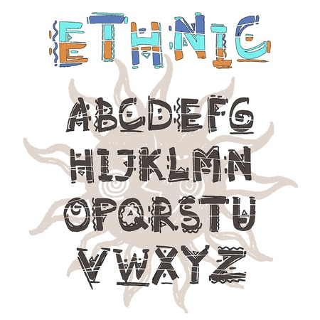 Vector Ethnic alphabet. Hand drawn letters. Letters of the alphabet written with a water based marker. Ilustração