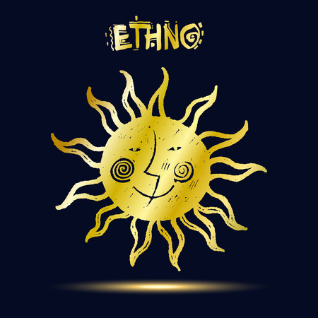 ethno: Golden ethnic symbol on dark blue background. Sun and moon. Sketch style vector illustration.