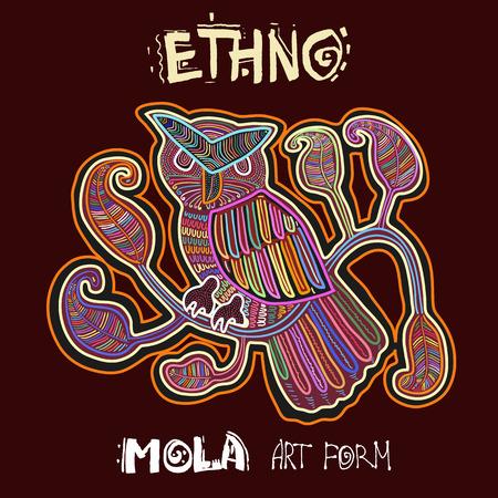 animalistic: Vector Ethnic Design Element. ETHNO. MOLA Art Form. Mola Style Bird. Ethno Bright Decorative Illustration.