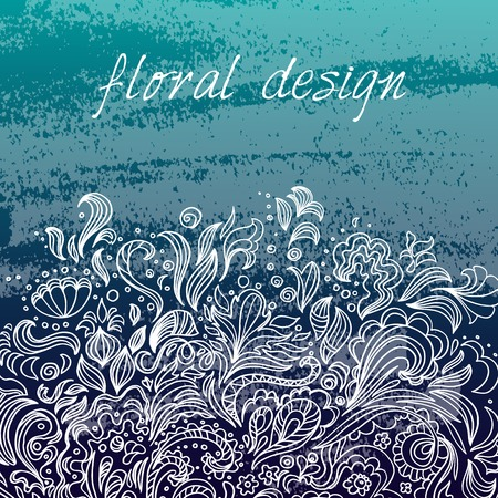 Vector design template. White floral ornament on blue background. Grange style.