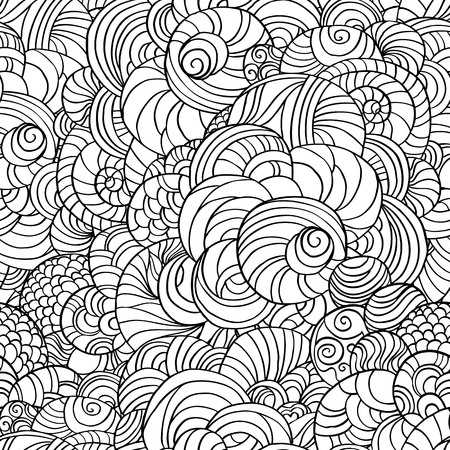 Vector abstract circles seamless pattern background. Hand sketch style pattern on black and whit colors.