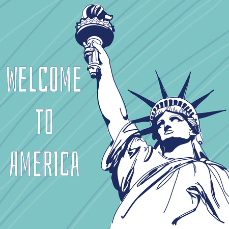 World Famous Landmark Of America. Statue of Liberty. Welcome To America. Vector Illustration