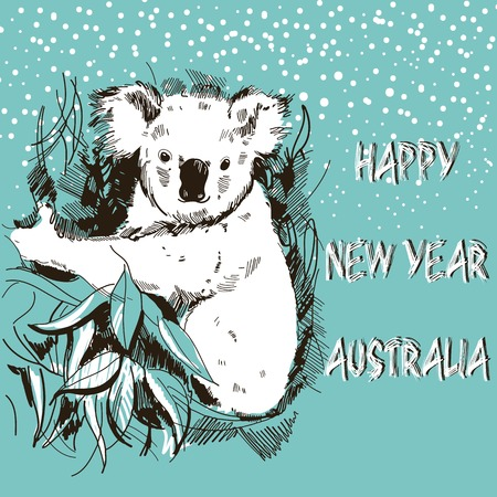 Happy New Year Australia. Hand Drawn Vector Illustration. Koala