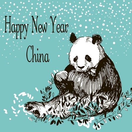 cute panda: Happy New Year China. Hand Drawn Vector Illustration. Panda. Can Be Used Separately From Backdrop or Postcard