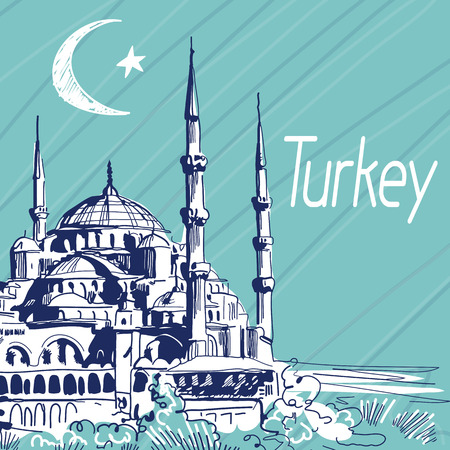 Hand Drawn Vector Illustration. World Famous Landmark Series: Turkey,Istanbul, Blue Mosque or Sultanahmet Mosque. State symbols of Turkish Flag:Crescent and Five-pointed Star