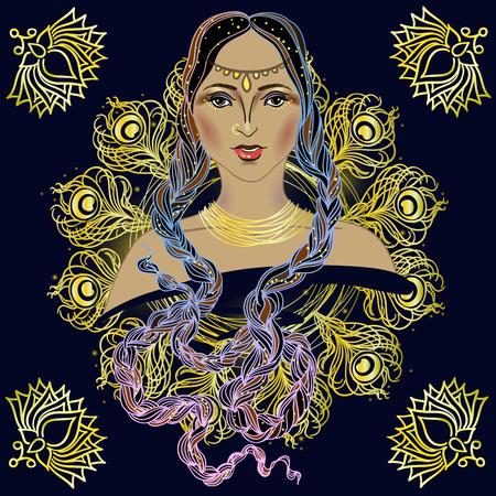 fashion portrait: Beautiful Indian brunette young woman portrait. Boho Style fashion design and Buddhist symbols. Vector Illustration.