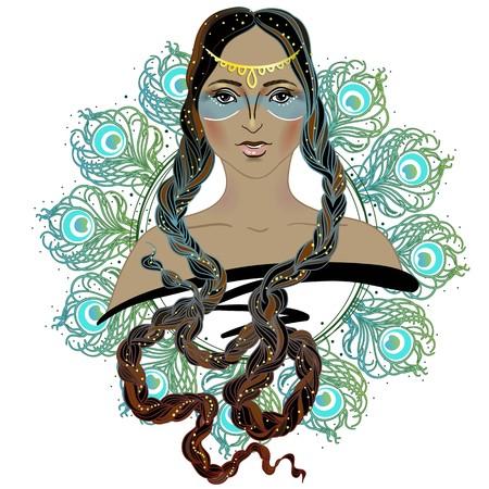 Boho Style Fashion Girl. Indian Beauty Woman. Vector Illustration.