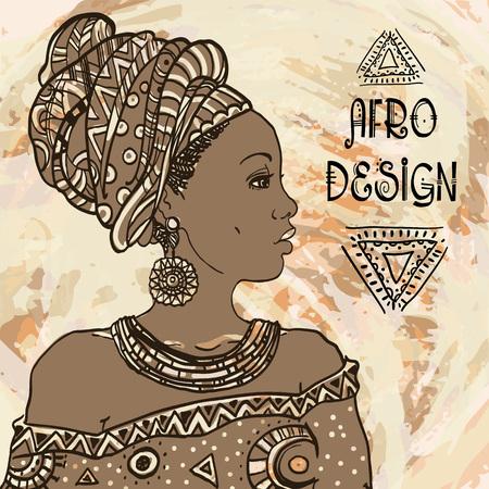 Ethnic young african  woman portrait on grangebackground . Vector illustration. Afro design.