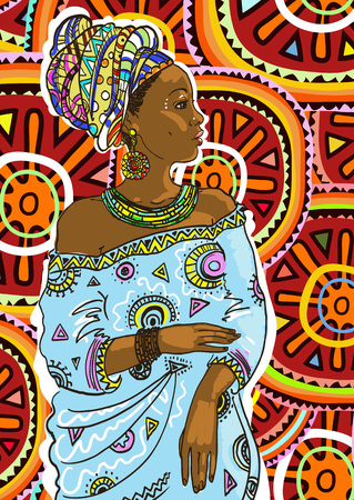 Ethnic young african  woman on colorful Mola background . Vector illustration Ilustração