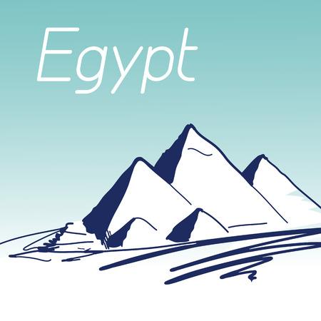 vac: Hand Drawn Vector Illustration. World Famous Landmark Series: Egypt, Cairo, Pyramids