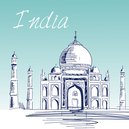 agra: Hand Drawn Vector Illustration. World Famous Landmark Series: India,Agra, Taj Mahal