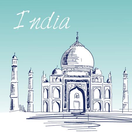 Hand Drawn Vector Illustration. World Famous Landmark Series: India,Agra, Taj Mahal