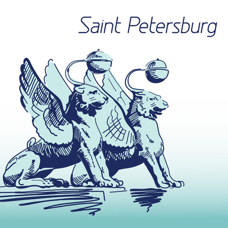 sumbol: Hand Drawn Vector Illustration. World Famous Landmarck Series: Russia, Saint Petersburg,Bank Bridge. Sumbol of Saint Petersburd: Bronze Cats with Golden Wings - Griffins.
