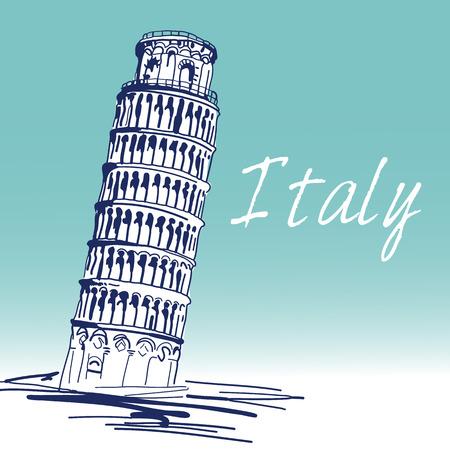 Hand Drawn Vector Illustration. World Famous Landmarck Series:Italy,Pisa,leaning Tower of Pisa.