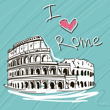 Hand Drawn Vector Illustration. World Famous Landmarck Series:Italy, Roma. I Love Rome.