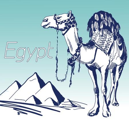 Hand Drawn Vector Illustration. World Famous Landmark Series: Egypt, Cairo, Pyramids