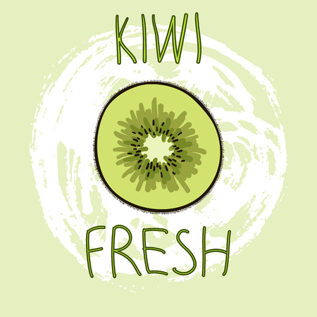 Hand Drawn Vector Elements. Kiwi Fresh. Can be used for ads, signboards, identity and web designs Ilustração