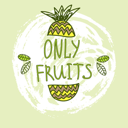 Hand Drawn Vector Elements. Only Fruits. Can be used for ads, signboards, identity and web designs.