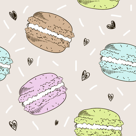 Seamless pattern with colorful macaroons. Vector in sketch style illustration. Ilustração