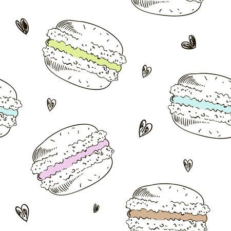 Seamless pattern with doodle macaroons. Vector sketch style background.