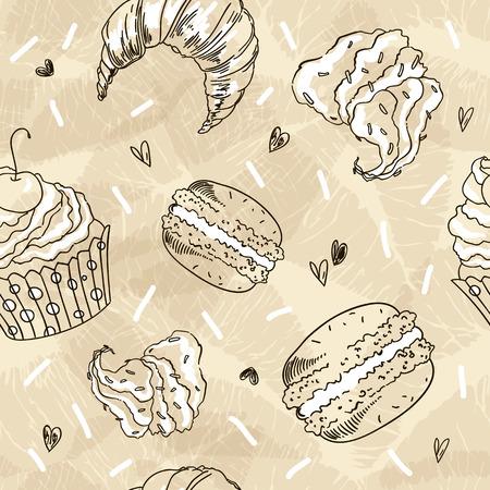 Doodle vector seamless pattern. Vector Sketch Style Illustration. Vintage Grange coffee background. Ilustração