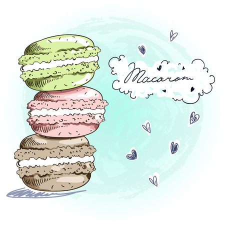 Sweet delicious doodle macarons card. Sketch style vector illustration. Each elements are separated.