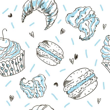 Doodle vector seamless pattern. Vector Sketch Style Illustration. Sweets light pattern. Ilustração