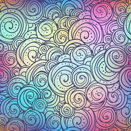 Circules ethno doodle pattern on blurred colorful background. Boho style vector illustration. Ilustração