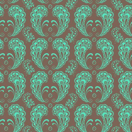 Seamless symmetrical mint lace on brawn background. Vector illustration.