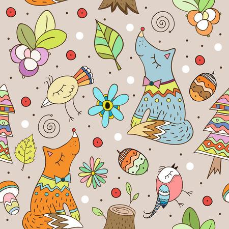Vector forest design, floral baby seamless pattern with forest animals. Ilustração