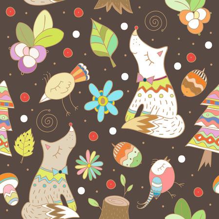 Doodle forest seamless pattern. Vector illustration in childrish style. Ilustração