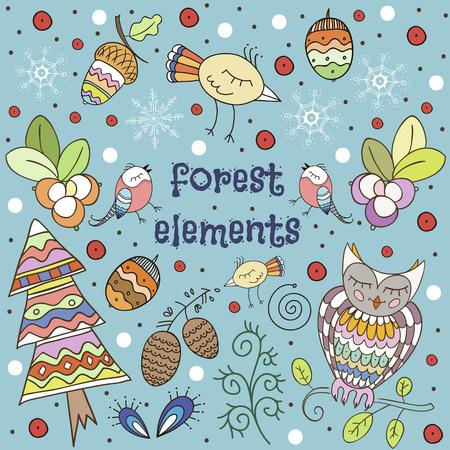 Winter forest background. Iillustration in childrish style. Ilustração
