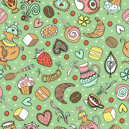 Seamless sweet tea pattern with diferent candies. Ilustração