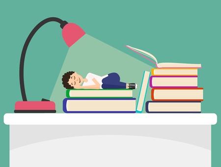 students: Estudiante cansado que duerme en el libro
