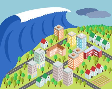 Big tsunami covering city