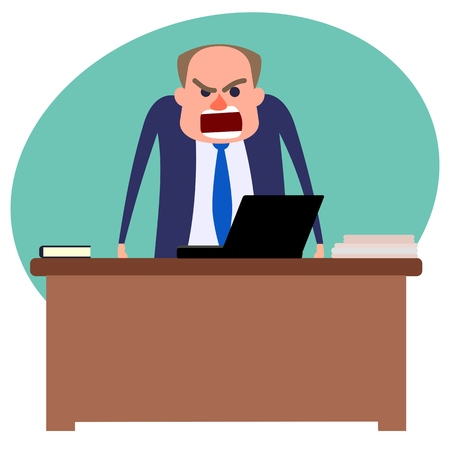 Angry boss standing behind table and yelling Illustration