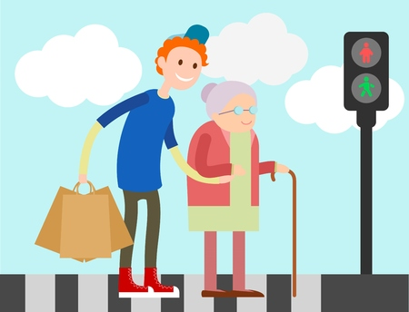 old: Boy helps old woman to cross road Illustration