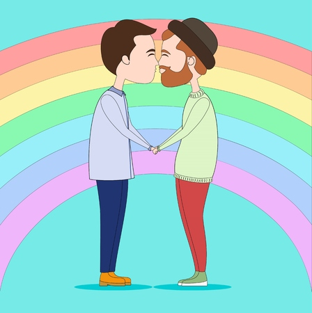 couple in love: Two gays kissing and holding with hands
