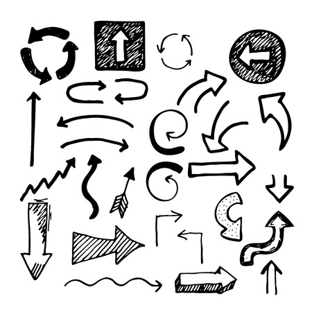 cross hatched: Sketch doodle arrows. Black isolated arrows on white background. Simple hand drawn design elements.