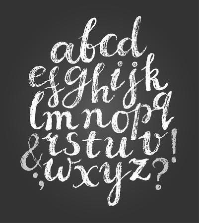 punto di domanda: Chalk carattere alfabeto latino. Le lettere minuscole ans alcuni simboli.