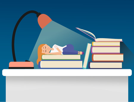 work stress: Girl sleeping on books. Tired student preparing for exams. Illustration contains transparency and gradients.