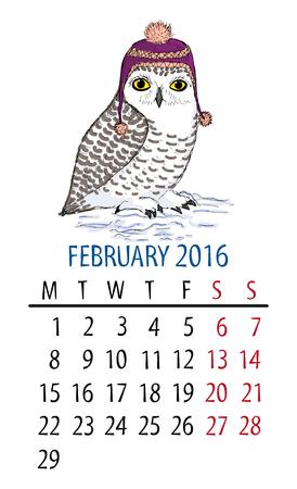 February owl calendar. Cartoon snowy owl in purple hat on white background.