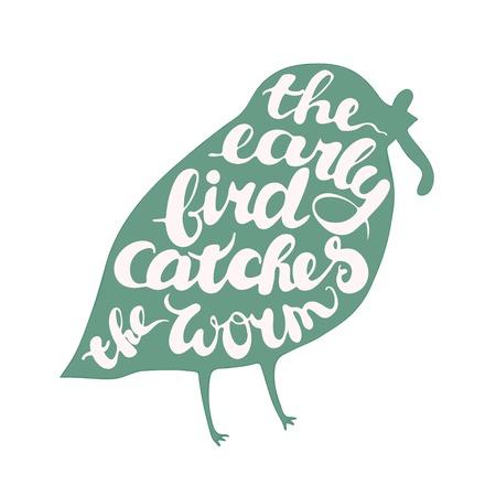 gusano: Composición Letterig con el pájaro. Proverbio es la madruga del gusano. Ilustración aislada en el fondo blanco. Vectores